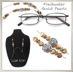 Freshwater Golden Pearl Eyeglass Chain