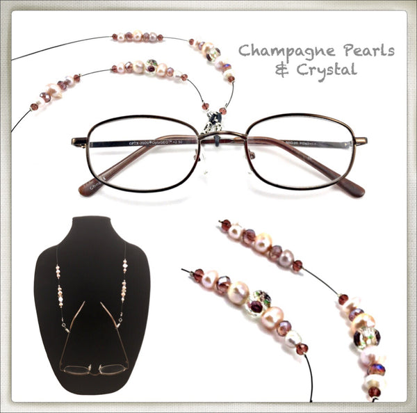 Champagne Pearl / Crystal  Eyeglass Chain