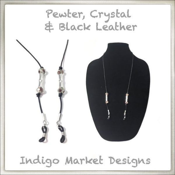 Leather, Pewter and Crystal Eyeglass Cord