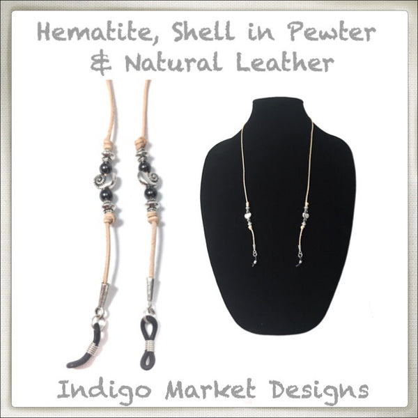 Leather & Shell Pewter Eyeglass Cord