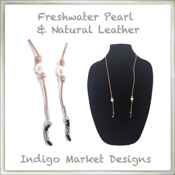 Leather & White Pearl Eyeglass Cord