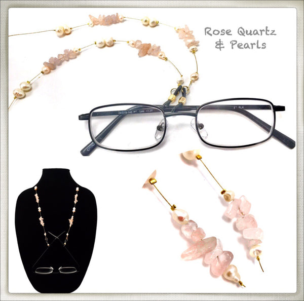 Rose Quartz & Pearl Eyeglass Chain