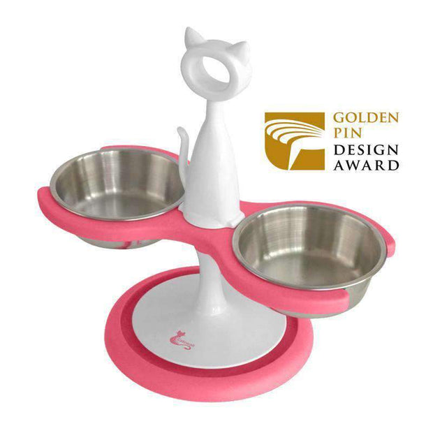 Anti-Ant Raised Two Bowl Feeder For Cats In Hot Fuchsia