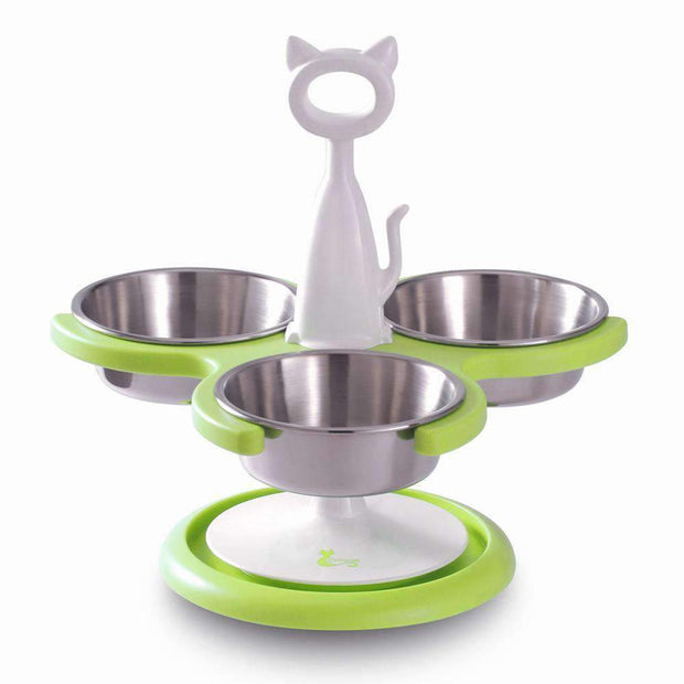 Anti-Ant Raised Three Bowl Feeder For Cats In Lime Green