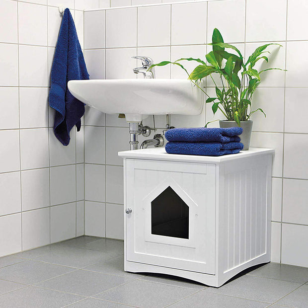 White Wooden Litter Box Enclosure