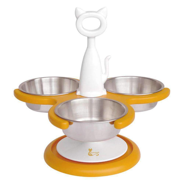 Anti-Ant Raised Three Bowl Feeder For Cats In Zesty Orange