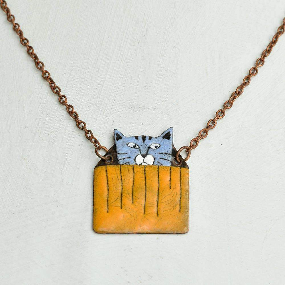 Blue kitty in box necklace