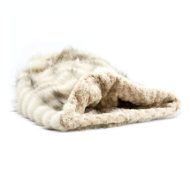 Cream Fox w/ Camel Curly Sue Cuddle Cup Bed