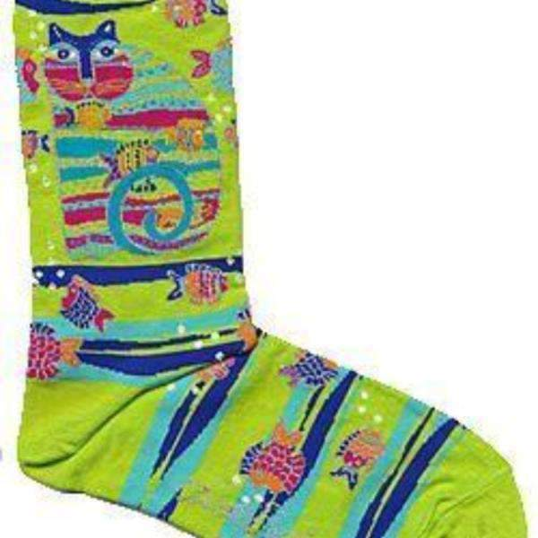 Laurel Burch Cat With Fish Lime Green Socks