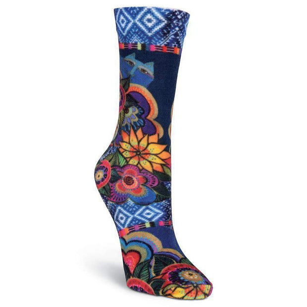Laurel Burch Cats With Purple Flowers Crew Socks