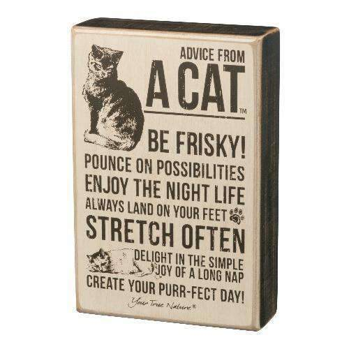 advice from the cat box sign
