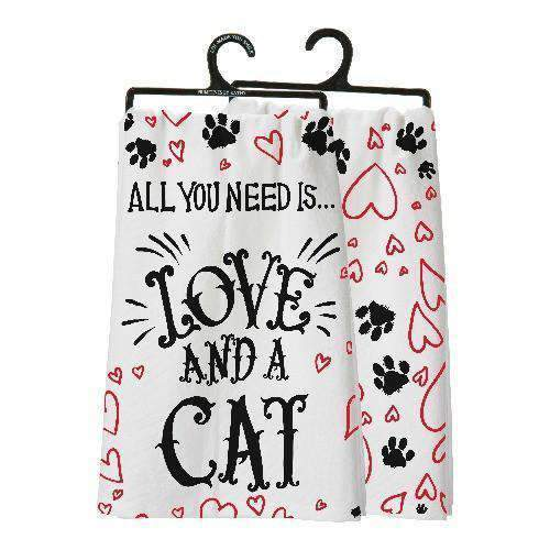 all you need is love and a cat towel by primitives by kathy