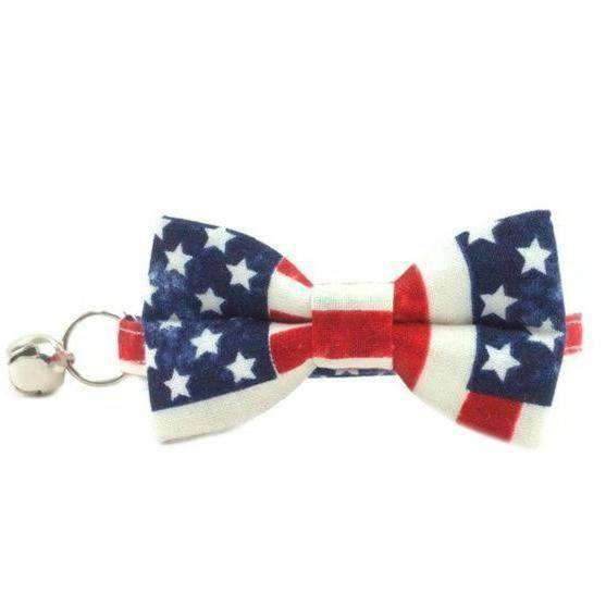 american flag bow tie collar for cats and kittens