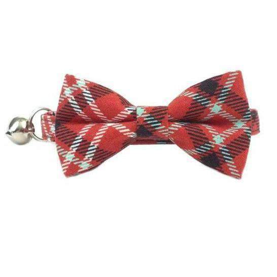 americana red bow tie cat collar for cats and kittens