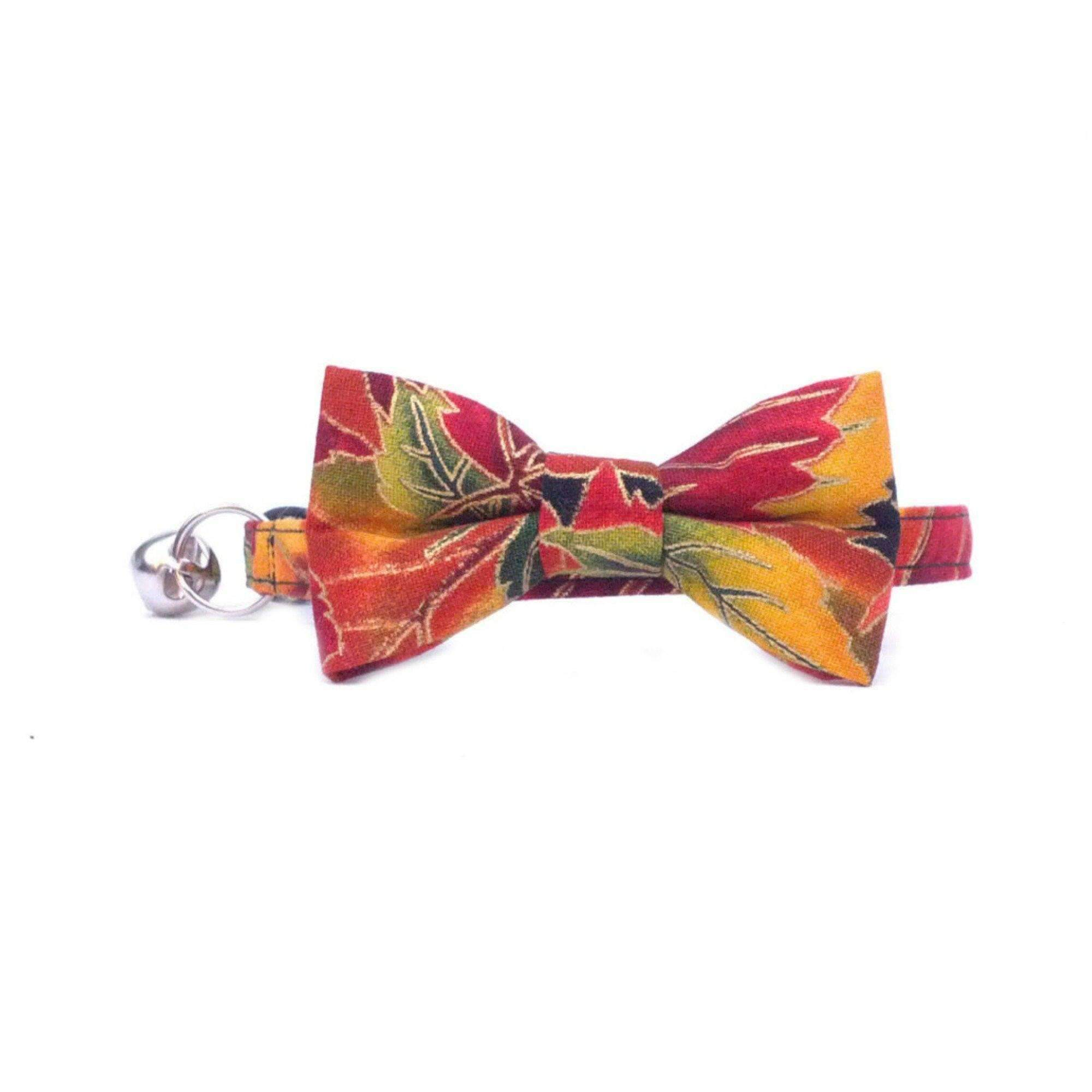 autumn leaves bow tie collar for cats