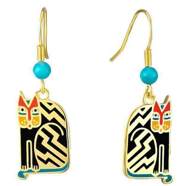 aztec cat laurel burch earrings in black