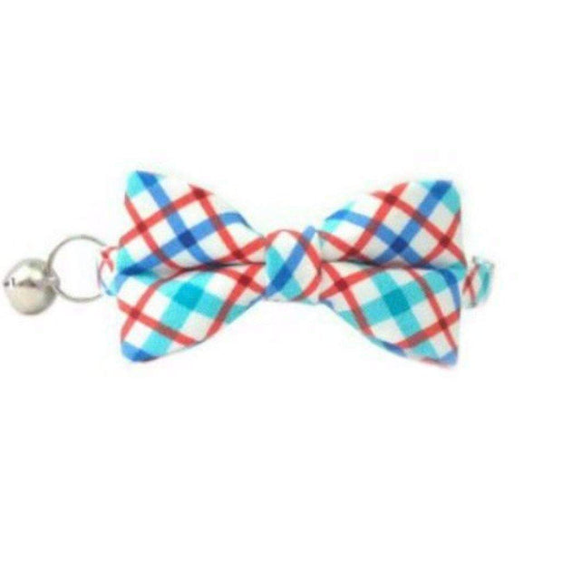 bay blue checkered bow tie cat collar