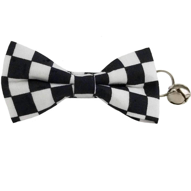 black and white checked bow tie collar for cats