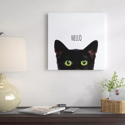Curious Hello Black Cat Art