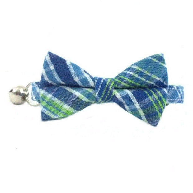 blue and green seersucker bow tie cat collar