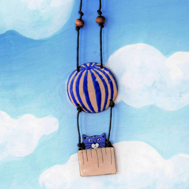 Blue cat in hot air balloon necklace