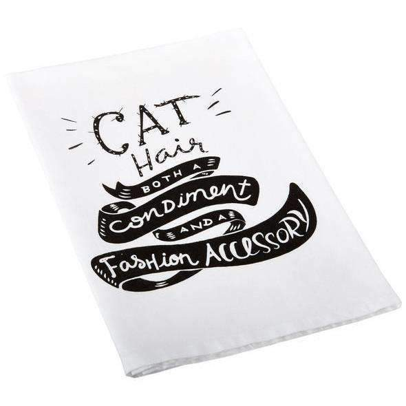 cat hair both a condiment and a fashion accessory towel