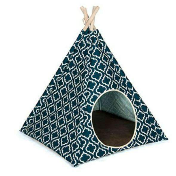 cat teepee bed in navy blue