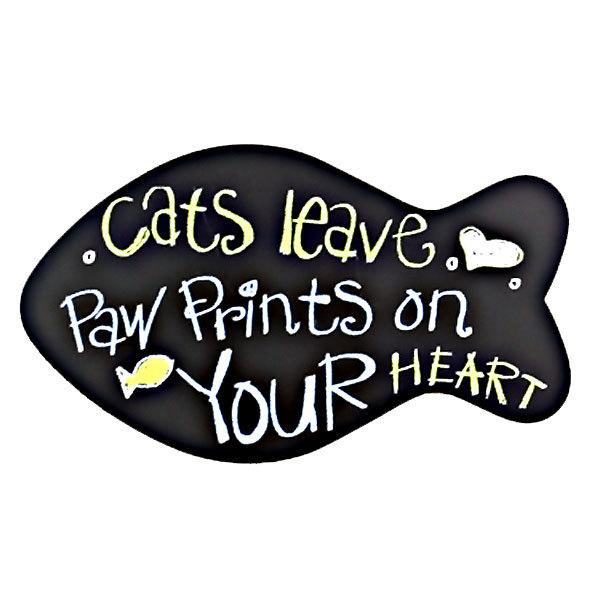 cats leave paw prints on your heart plaque