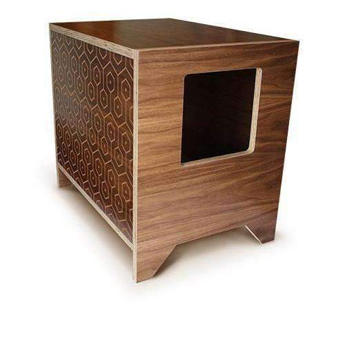 curio in walnut pattern litter box
