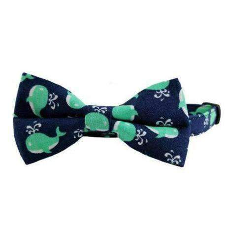 cute navy whales bow tie cat collar