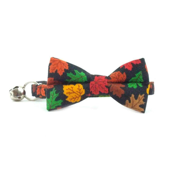 fall leaves bow tie cat collar