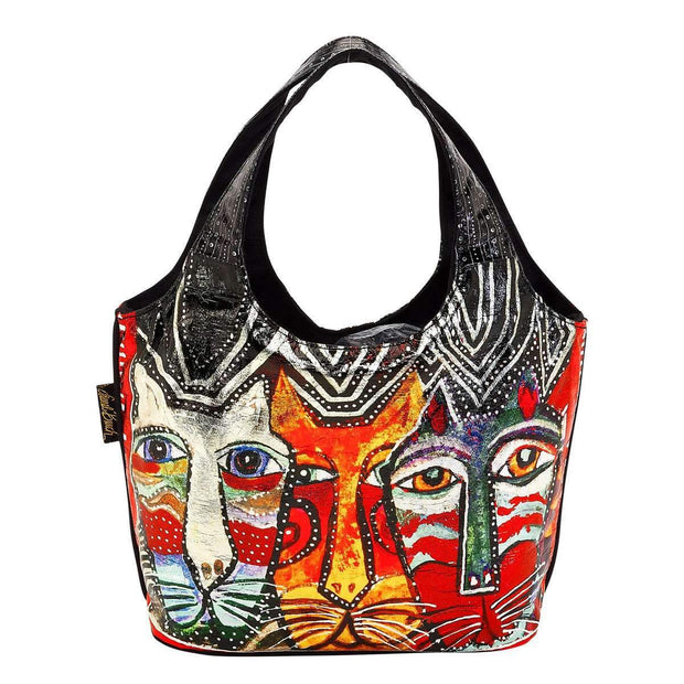 Laurel Burch Gatos Cats Foiled Small Scoop Tote