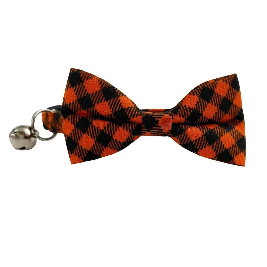 halloween checkered bow tie cat collar