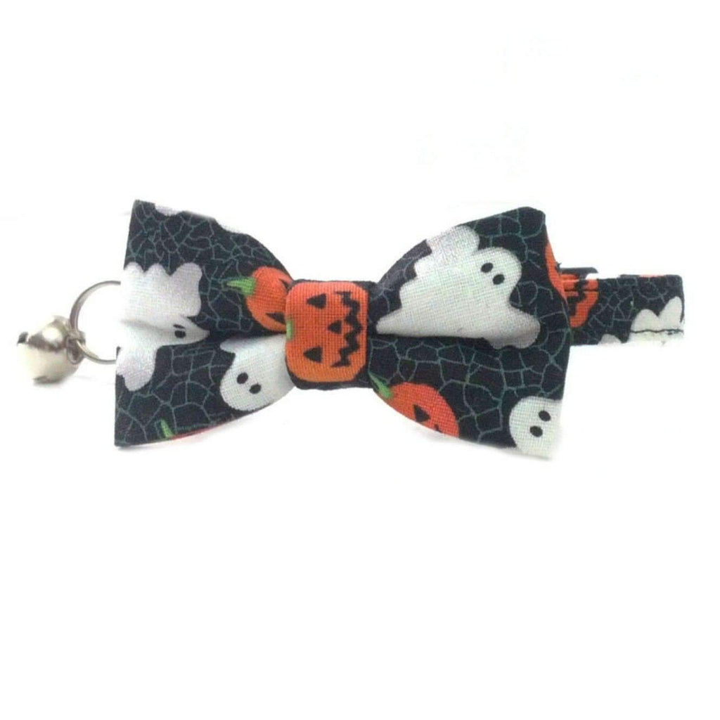 halloween ghosts and pumpkins bow tie cat collar