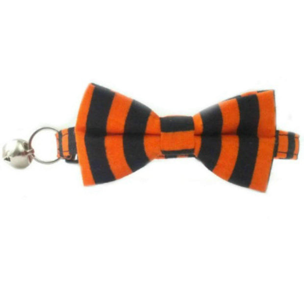 halloween orange and black stripe breakaway safety cat bow tie cat collar