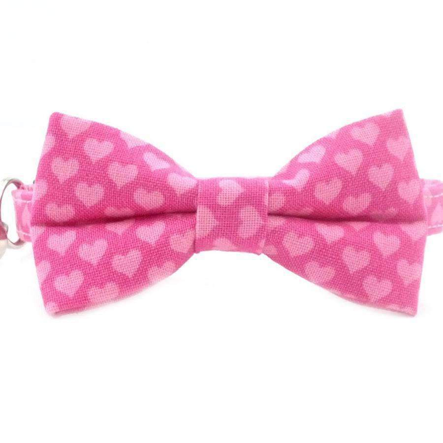 pink hearts bow tie cat collar