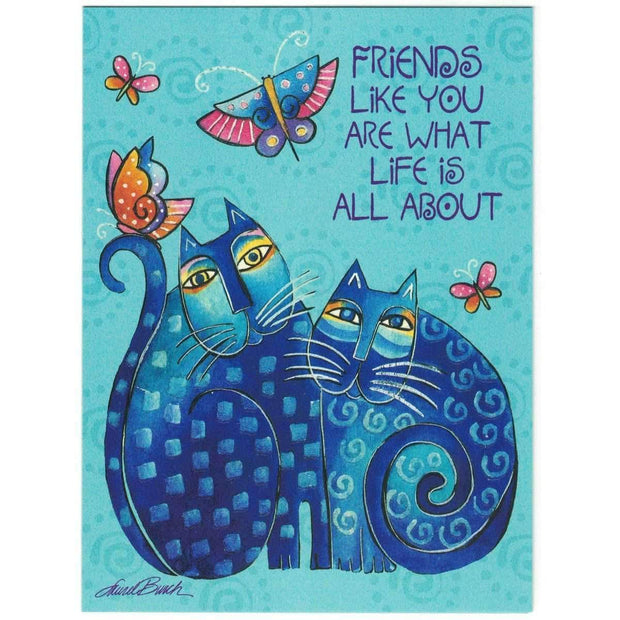 Laurel Burch Friendship Blue Indigo Cats Card