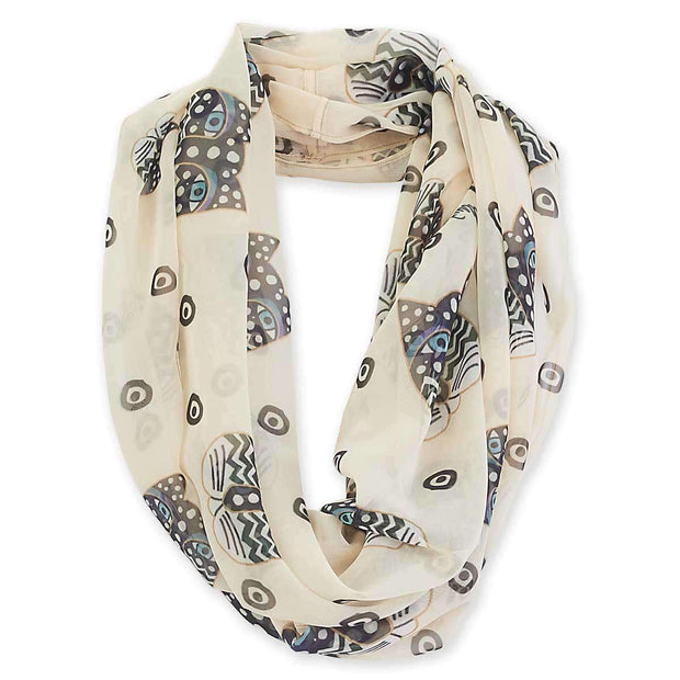 Laurel Burch Polka Dot Cats Artistic Infinity Scarf