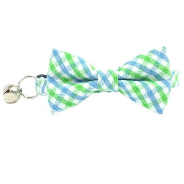 light blue gingham bow tie cat collar