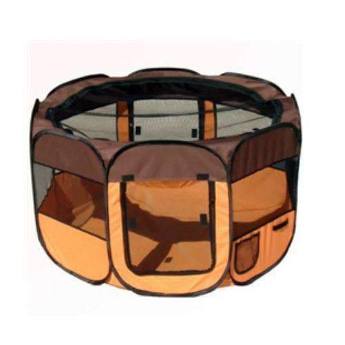 lightweight folding cat playpen in orange and brown