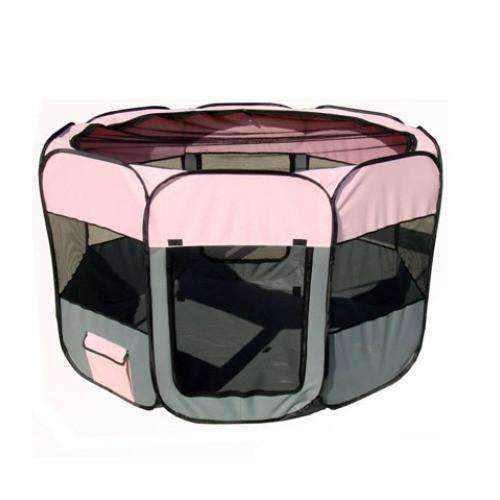 lightweight folding cat playpen in pink and gray