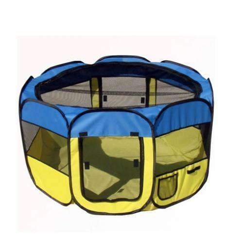 lightweight folding cat playpen in yellow and blue