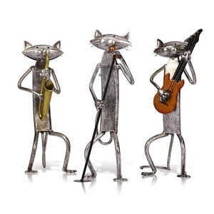 Metal Cat Figurine Musician Set
