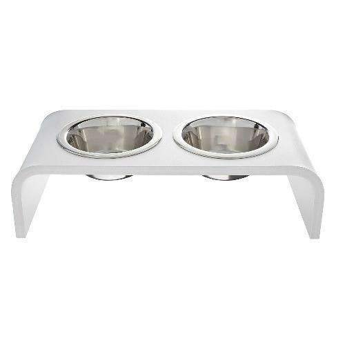 modern white feeder for cats