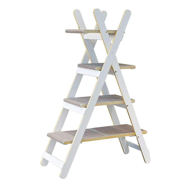 Cat Modern Folding Cat Tree Tower In White