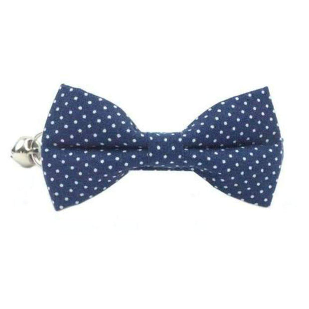 navy blue polka dots bow tie cat collar