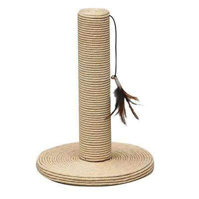 Paperpost scratcher for cats with teaser toy