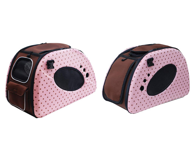 pink polka dot cat stroller and carrier