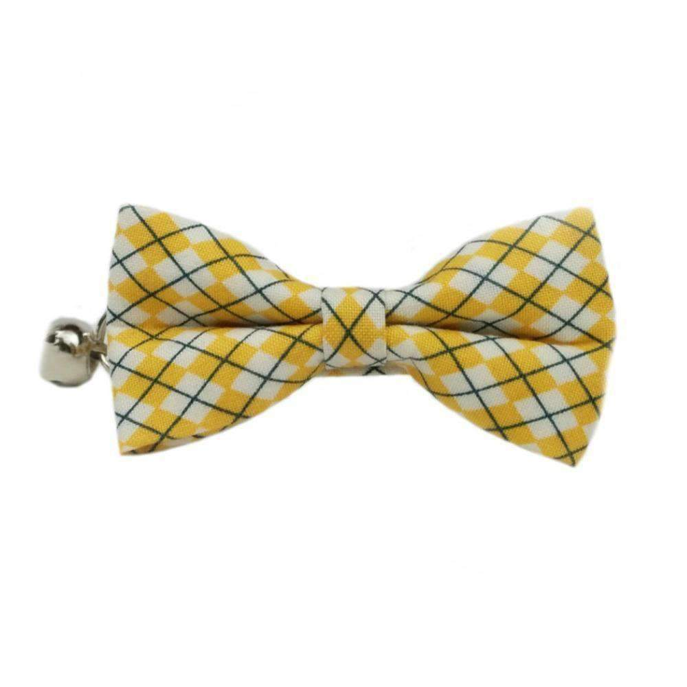 preppy hipster yellow bow tie cat collar