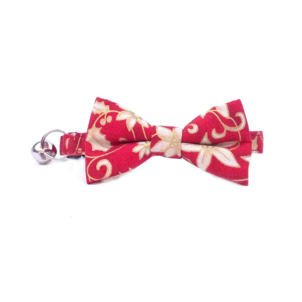 Red and White Poinsettia Christmas Cat Bow Tie Collar